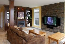 Sensational Ledgestone Decorating Ideas For Family Room Traditional Design With Accent Wall Bookshelves