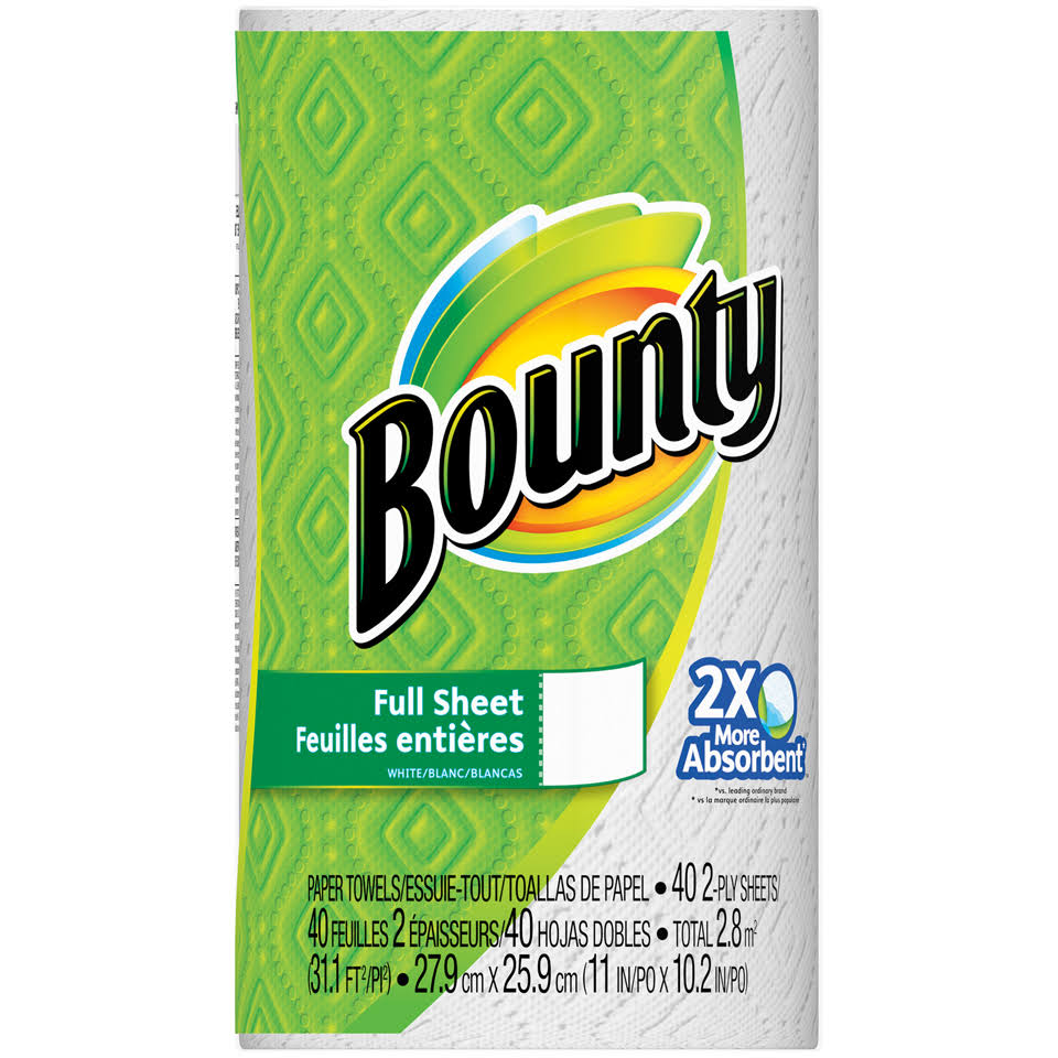 Bounty Full Sheet Paper Towels - 2 Ply, 44 Sheets, White