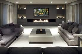 beleuchtung wohnzimmer modern wohnwand grau regale offener