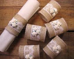 Burlap Napkin Rings Lace Rustic Set Of 6 And Roses