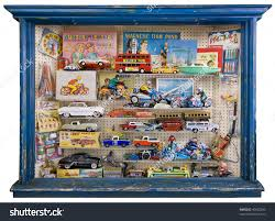 Toy Shop Window Full Tin Plate Stock Photo 40602283