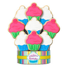 Decorated Shortbread Cookies by Cupcake Happy Birthday Cookie Bouquet