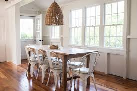 Farmhouse Table Chairs Dining Room Beach With Exposed Beams Hardwood Flooring