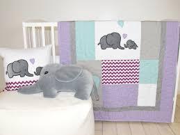 Elephant Baby Quilt Gray Purple Teal Crib Bedding Purple Chevron
