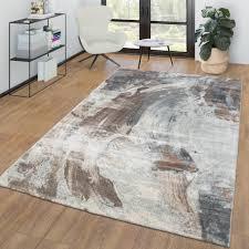 wohnzimmer teppich vintage kurzflor modernes abstraktes design braun grau größe 120x160 cm