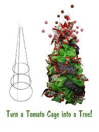 Tomato Cage Christmas Tree With Mesh Fresh Wreath