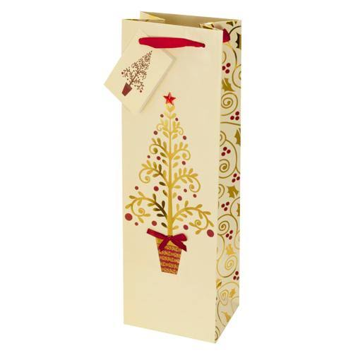 One Bottle Imprinted Golden Trees Wine Bag With Red Ribbon Handle