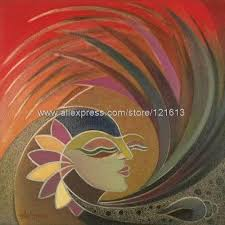 Woman Nature India Fine Art Oil Painting By Handmade Paintings Black White Canvas