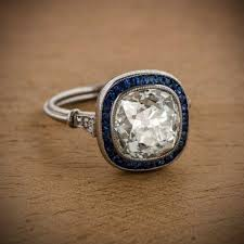 Cushion Cut Diamond And Sapphire Engagement Ring 10253