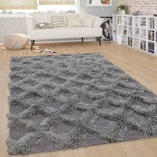 teppich wohnzimmer shaggy hochflor rauten karo skandinavisch in uni grau