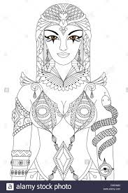 Zentangle Cleopatra Queen Of Egypt Design For Coloring Book
