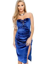 royal blue velvet front lace up side slit strapless party dress