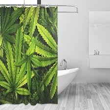 coosun cannabis textur marihuana leaf pile duschvorhang set