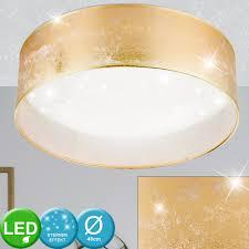 led ceiling l gold white d 40 cm textile