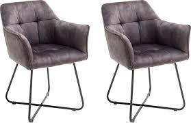 mca furniture esszimmerstuhl panama 2er set vintage veloursoptik mit keder stuhl belastbar bis 120 kg