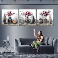 kein rahmen 3 platten blumen vase leinwand malerei modulare wand gemälde wand kunst wohnkultur für wohnzimmer in günstige preis