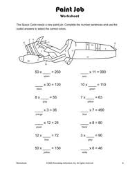 Paint Job Printable Multiplication Worksheets And Problems For