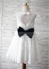 lace navy blue bow heart hole back flower dress