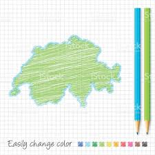 suisse croquis de carte aux crayons de couleur sur papier