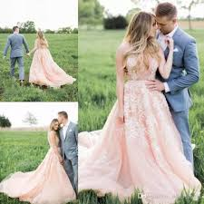 Discount Country Western Maternity Wedding Dresses With Flowers A Line Sweetheart Neckline Bohemian Style Rustic Blush Pink Plus Size Bridal Gown