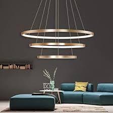 dimmbar led pendelleuchte design goldfarben modern pendelle drei ringe kreative hängeleuchte esszimmerle innenbeleuchtung dekorative