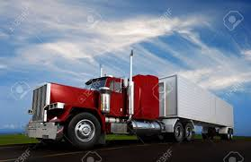 An 18 Wheeler Semi-Truck Sppeding On Highway Stock Photo, Picture ...