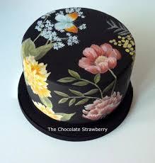 Hand Paintwd Black Floral Cake by Sarah Jones