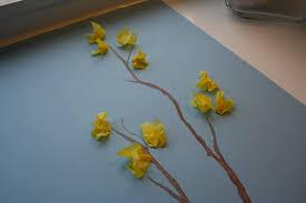 Easy Kid Spring Art Craft Tissue Paper Forsythia