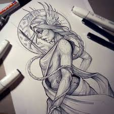 Heres A Beautiful Freya Goddess Sketch From Rockinrabbit Who Creates