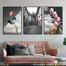 nobrand schwarz weiß landschaft wandbild bild rosa