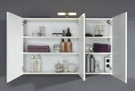 bad spiegelschrank 3 türig mit beleuchtung 110 cm breit weiß