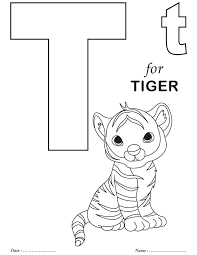 Little Tiger Alphabet Coloring Page