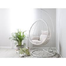 hängesessel weiß polyrattan gestell inkl kissen hängestuhl korb schwebesessel terrasse balkon wohnzimmer modern