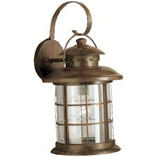 kichler outdoor wall light with clear glass in rustic finish