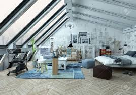 loft bedroom covered in hardwood floors with pictures seat cushions