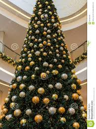 Shopping Center Tall Christmas Tree Decorated Baubles