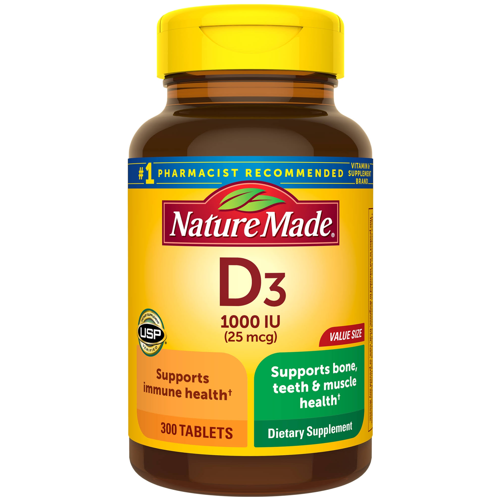 Nature Made Vitamin D3 1000 IU Dietary Supplement - 300 Tablets