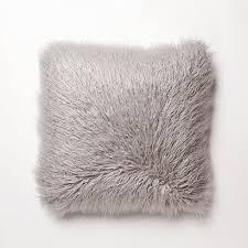 Amazon Best Home Fashion Grey Mongolian Lamb Faux Fur Pillow