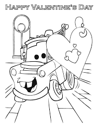 Cars Happy Valentines Day Coloring Page