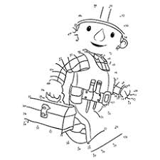 Connect Dot To Bob The Builder Coloring Page