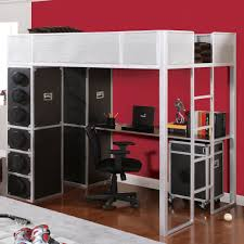 white loft bed with stairs and desk u2014 loft bed design loft bed