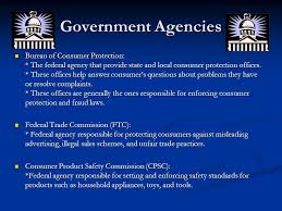 us federal trade commission bureau of consumer protection federal agencies and laws for consumer rights ppt