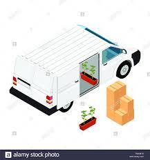100 Seedling Truck White Realistic Hidetailed Cargo Van Minivan With Tomato