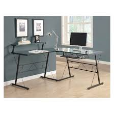 Monarch Black Metal L Shaped puter Desk with Tempered Glass