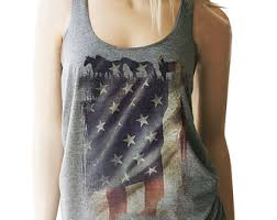 American Flag Tank With Horses Red White Blue Patriotic