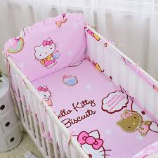 6pcs Cute Baby bedding Cot Set  Cotton Crib Bumper 5Pcs Baby