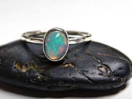Opal Engagement Ring Sterling Silver Blue Welo Hammered Band Rustic