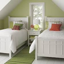 View In Gallery Bright Green Guest Room Featuring Brighton White Bedding From CrateBarrel