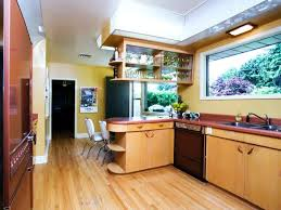 Mid Century Modern Galley Kitchen White Color Vintage Wooden Chairs Benches As Inspiring A