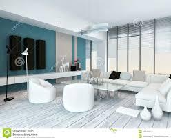 kühles blaues und weißes modernes wohnzimmer inyerior stock